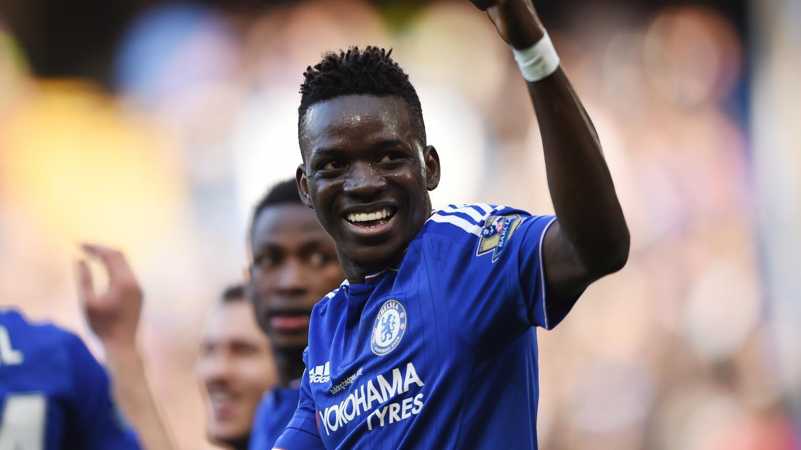 """Football Soccer - Chelsea v Stoke City - Barclays Premier League - Stamford Bridge - 5/3/16 Chelsea's Bertrand Traore celebrates scoring their first goal Action Images via Reuters / Tony O'Brien Livepic EDITORIAL USE ONLY. No use with unauthorized audio, video, data, fixture lists, club/league logos or """"live"""" services. Online in-match use limited to 45 images, no video emulation. No use in betting, games or single club/league/player publications.  Please contact your account representative for further details."""